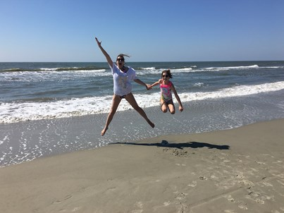 Mommy and Zoe jumping