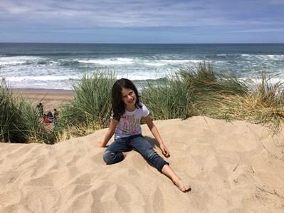 Avery on beach