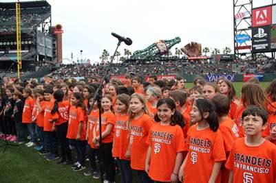 Brandeis chorus at Giants game - small