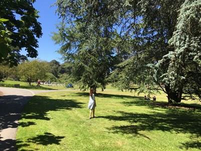 Zoe in arboretum