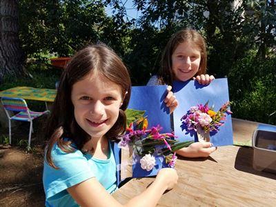 girls' flower artwork