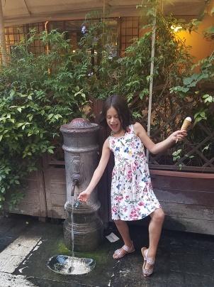Avery at fountain