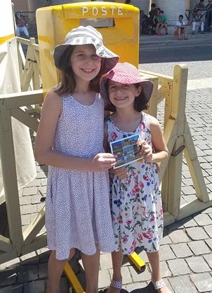 girls at Vatican post office