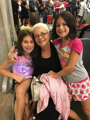 girls and Safta in airport