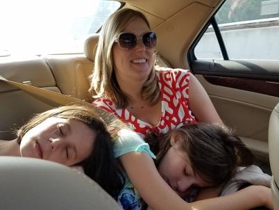 girls asleep on Mommy
