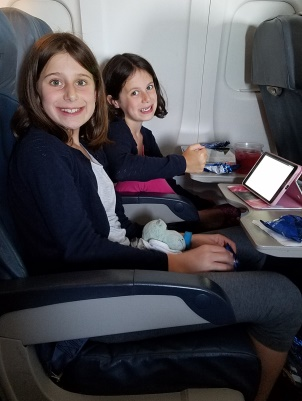 girls on plane to Tel Aviv